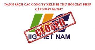 Danh sách các công ty bị thu hồi giấy phép XKLĐ 8/2017